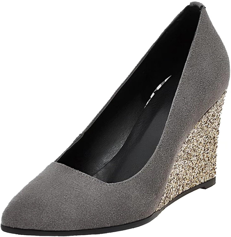 AIYOUMEI Women's Pointed Toe Pumps shoes Slip on Wedge High Heels