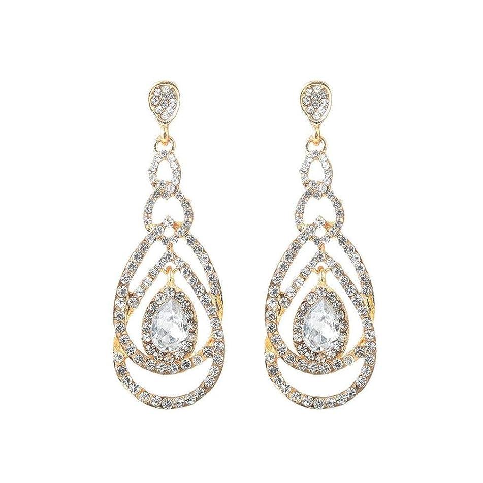 ICHQ Fashion Womens Girls Geometric Hoop Long Hypoallergenic Earrings Cute Crystal Diamond Stud Earrings jewellery Gift (Gold)