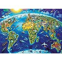 大人のジグソーパズル1000ピース10代の子供と大人のための標準的な世界地図、とても良い教育的なゲーム、75×50センチメートルパズル段ボール,A