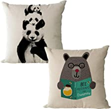JOEJISN Throw Pillow Covers Cotton Linen Couch Pillow Cover Sofa Home Decor 18x18 Inch Set of 2, Animal Panda and Grizzlies