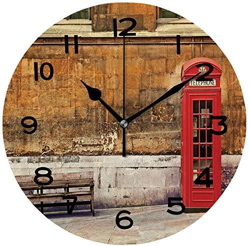 Ad4ssdu4 Reloj redondo de madera tradicional de estilo antiguo, caja de teléfono en Londres, 30,48 cm, reloj de pared para decoración del hogar