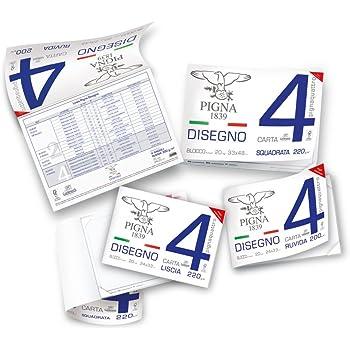 Pigna Pignaquattro 0220021GE, Album da Disegno, Formato 24 x 33 cm, Fogli Lisci, Grammatura 220gr/m2, 20 Fogli