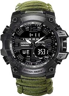 Emergencia Wilderness Survival Watch Paraguas Cordón Silbato Brújula Reloj Militar Multifuncional Equipo Deportivo al Aire...