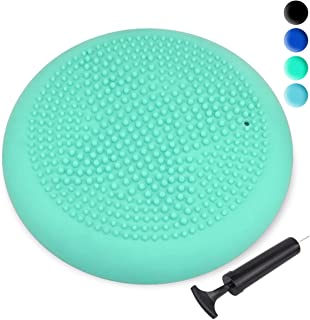 Trideer Inflated Stability Wobble Cushion with Pump(Multiple Colors),Extra Thick Flexible Seating Classroom, Core Balance Disc, Wiggle Seat for Sensory Kids (Office & Home & School) (Renewed)