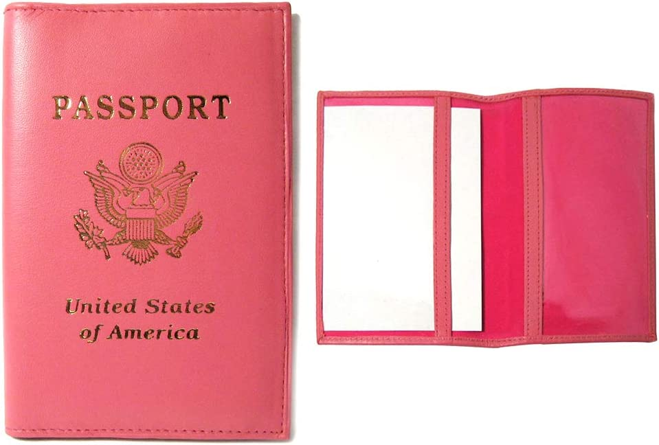 Genuine Lowest price challenge Leather Passport Long-awaited Cover Pink Travel Holder US CASE Wallet