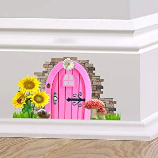 Full Colour Fairy Pixie Door Cute Skirting Board Sticker Graphic Decal