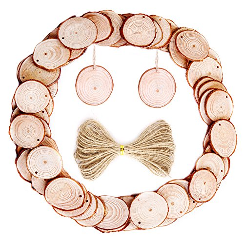 Caydo 50 Pieces 1.6-2 Inch Unfinished Wood Slices with Holes Round Log Discs with 33 Feet Natural Jute Twine for Ornaments and Home Hanging Decorations