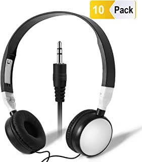 Bulk Headphones Classroom Kids School - Keewonda (KW-X10) 10 Pack Students Headphones in Bulk Multipack Earbuds Headsets for Computers Lab Library Hospital Museums Hotels