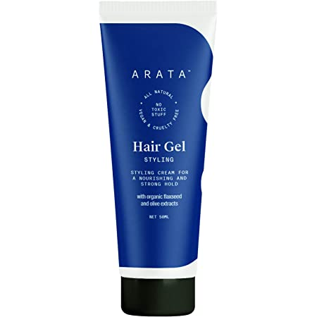 Arata Zero Chemicals Natural Hair Gel for Studio Styling, Shaping, Strong Hold & Nourishment with Organic Flaxseed & Olive Extracts for Women & Men (50 ml)