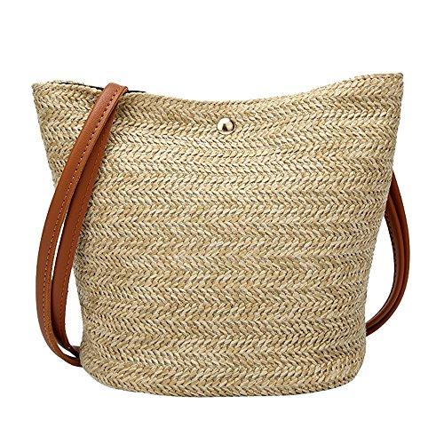 ❤️ Sunbona Messenger Bags Totes for Women Fashion Casual Shoulder Bag Straw Bags Woven Bucket Bag Handbag Organizer