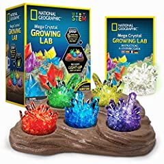FAST GROWING CRYSTALS IN 6 COLORS - Red, Green, Blue, Purple, Yellow, and Glow in the Dark; Crystal Chemistry has never been so fast (grows in 3 - 4 days), fun and colorful GROWING IN EASY – Easy-to-follow instructions and 2 silicone growing chambers...