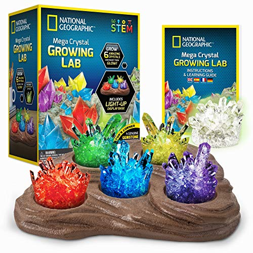 NATIONAL GEOGRAPHIC Mega Crystal Growing Lab – Grow 6 Vibrant Crystals, Crystals Grow Fast in 3-4 Days, Includes Light-Up Display Stand, Full-Color Learning Guide, and 4 Genuine Crystal Specimens