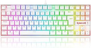 Teclado Gamer Redragon Kumara Lunar White RGB Switch Vermelho K552W-RGB