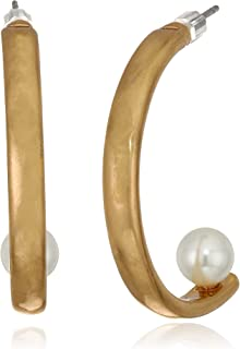Women's Half Hoop Earrings with Pearl, Gold, One Size