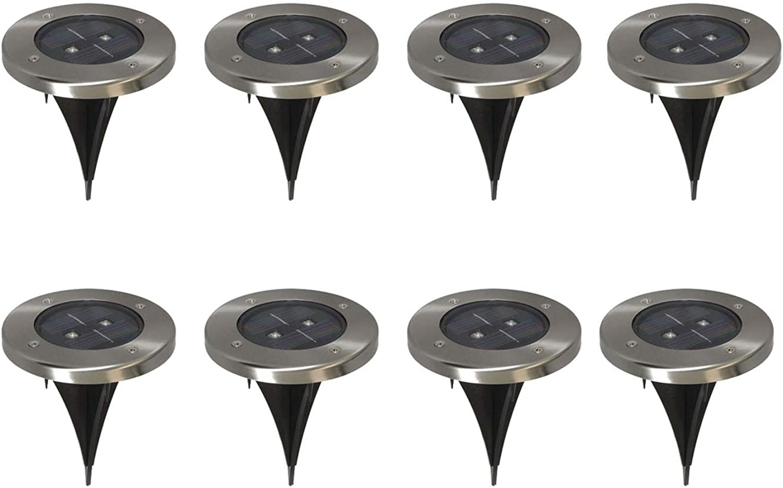 8er-Set LED Solarstrahler, Edelstahl, Dmmerungssensor, Erdspie IP44