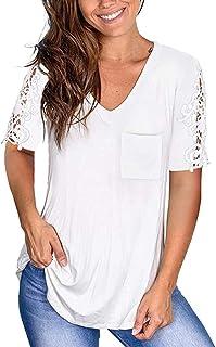 HebeTop Women's Lace Short Sleeve T-Shirt Tops Casual Loose Summer Tunic Blouse