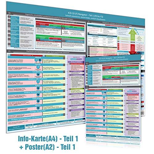 [2er Set] ICD-10 - Teil 1 (F0 bis F3): Wissenskarte (DINA4) + Wandposter (DINA2) - Ideal zur Prüfungsvorbereitung für Heilpraktiker Psychotherapie ... (Neue, komplett überarbeitete Ausgabe (2020))