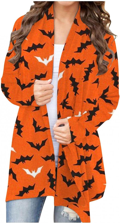 Halloween Cardigan for Womens, Women Pumpkin Animal Cat Bat Print Hoodies Sweatshirt Cute Funny Coat Pullover