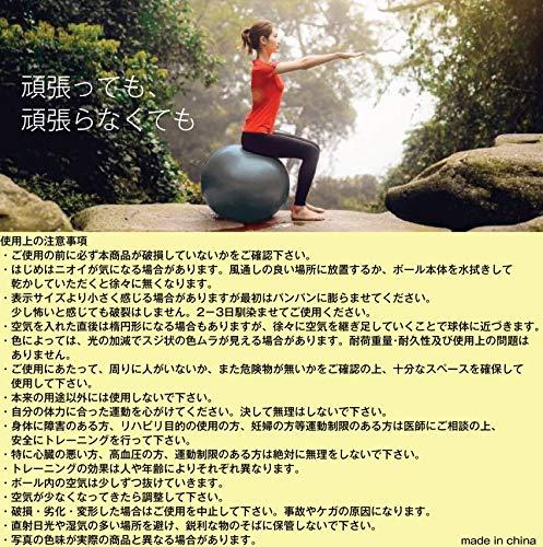 amugisバランスボールヨガボール55cmアンチバースト耐荷重500KG椅子腰痛予防ダイエットフットポンプ付き(charcoal/チャコール,55cm)