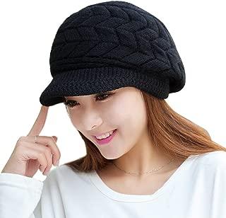 URIBAKE Fashion Women's Crochet Hat Peaked Winter Warm Skullies Beanies Faux Fur Knitted Hats Cap