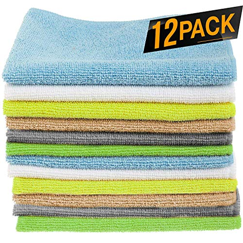 12 Pack Microfiber Cloths Cleaning Supplies [Get Lint-Free Polished Results]...