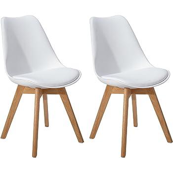 DORAFAIR Pack de 2 Retro sillas de Comedor Silla escandinava,Tulip Comedor/ Silla de Oficina con Las piernas de Madera de Roble Maciza,Blanco: Amazon.es: Hogar
