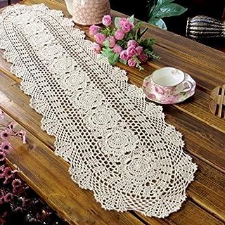 Laivigo Handmade Crochet Lace Oval Lucky Flower Tablecloth Table Runner Doilies Doily,12 x 27 Inch,Beige