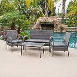 BELLEZE 4pc Patio Wicker Set Outdoor Rattan Conversation Cushion Seat Love Seat Garden Backyard w/Coffee Table, Gray