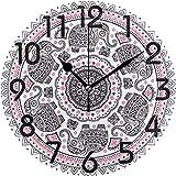 Cy-ril Boho Indian Lotus Ethnic Elephant Mandala Print Reloj de Pared Redondo Reloj de Escritorio silencioso con Pilas Decorativo para el hogar, la Oficina, la Escuela