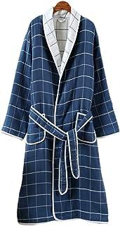 TOPBATHY Bathrobe Autumn Winter Cotton Night Robe Bathing Suits for Woman Adults (Dark Blue XL)