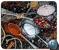 Spices On Spoons 1カスタマイズされたマウスパッド長方形のマウスパッドゲーミングマウスマット