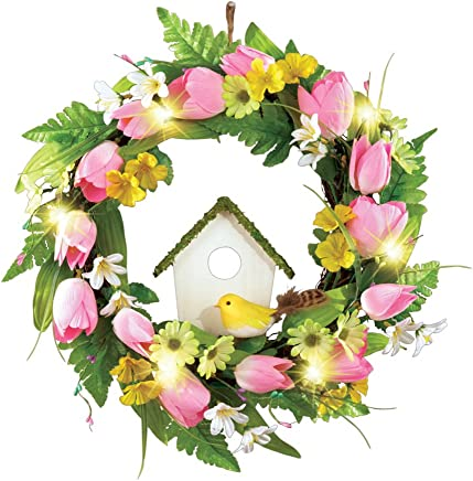 Spring Front Door Wreath Decoration with Tulips, Birdhouse & Lights