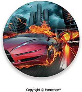 Hot Red Concept Car in Flames Blazing Tires Building and Birds Speeding Fast,Absorbent Ceramic Coasters For Drinks Red Orange Blue,3.9×0.2inches(4PCS),Make Your Home Decor Style