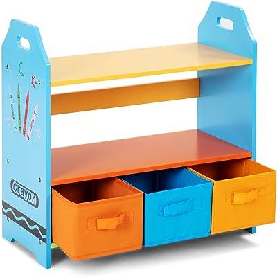 BeUniqueToday Crayon Themed 2 Tier Kids Bookshelf With 3 Storage Bins Children Book Rack Toys