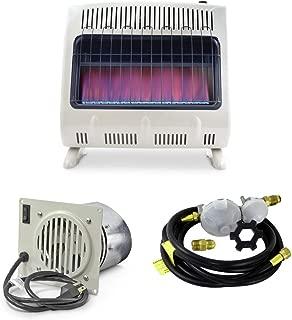 Mr. Heater 30K BTU Blue Flame Vent Free Heater with Blower & 12ft Regulator Hose Kit (3 Items)