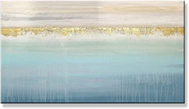 Handgeschilderd Olieverfschilderij - Modern Mooi Abstract 100% Handgeschilderd Olieverfschilderij Paletmes Blauw Textuur W...
