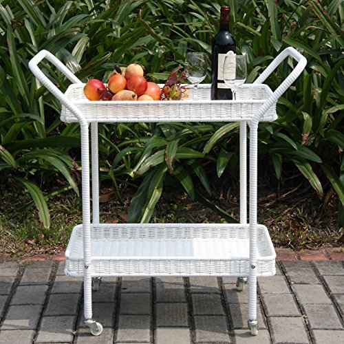 """Indoor/Outdoor Rolling Bar Serving Cart with 2 Tier Removable Shelves Made with Wicker/Rattan and Metal in White 32'' H x 18'' W x 32'' D"""""""