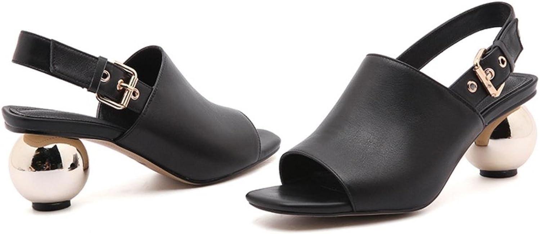 Women sandals shoes ladies spherical heel peep toe soft genuine leather woman black apricot heels sandals party