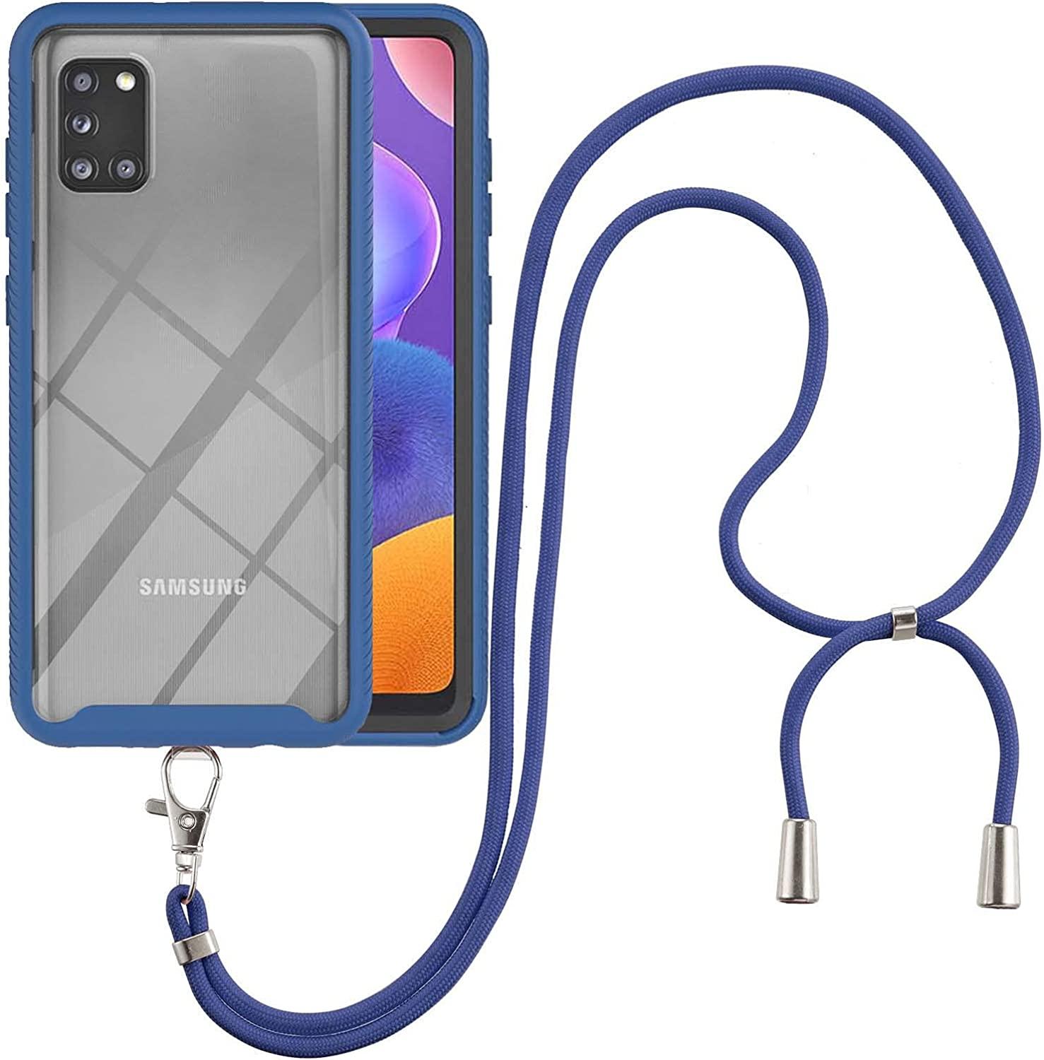 Samsung A31 Case, EabHulie Transparent Back No-Slip Bumper with Adjustable Crossbody Lanyard Strap Case, Shockproof Full Body Protection Cover for Samsung Galaxy A31 Blue