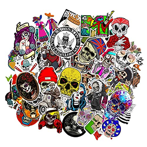 MARSFORCE Totenkopf 100 Stück Pack, Wasserdicht Vinyl Cool Stickers für Laptop Skateboard Gepäck Auto Motorrad Fahrrad Koffer Snowboard Helm [Skull 100]