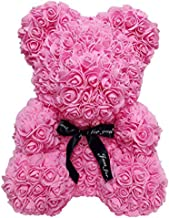 Homentum Rose Bear Teddy Forever Artificial Flowers are The Best Gifts for Valentine's Day,Graduation, Anniversaries, Birthdays, Weddings(Rose red, Small)
