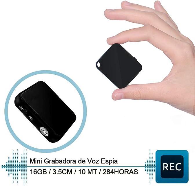 H+Y Mini Grabadora de Voz Grabadora Espia Portátil de 16 GB Recargable MP3 por USB HD Grabadora de Audio con Activación por Voz Ideal para Clases Reuniones Entrevistas Hasta 284 Horas