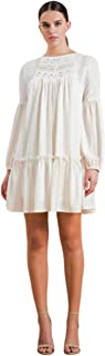 THFB Women's White Beige Printed Swing Crochet Dress Long Sleeve
