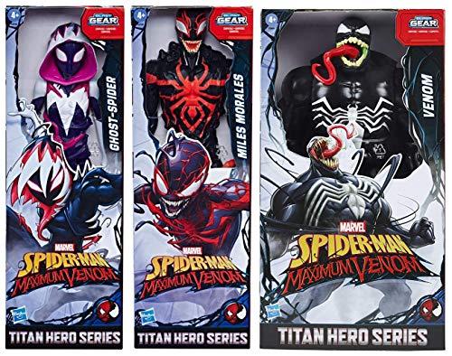 Spider-Man Marvel Bundle of 3 Titan Hero Series Maximum Venom 12-inch Action Figures Miles Morales, Ghost-Spider, Venom