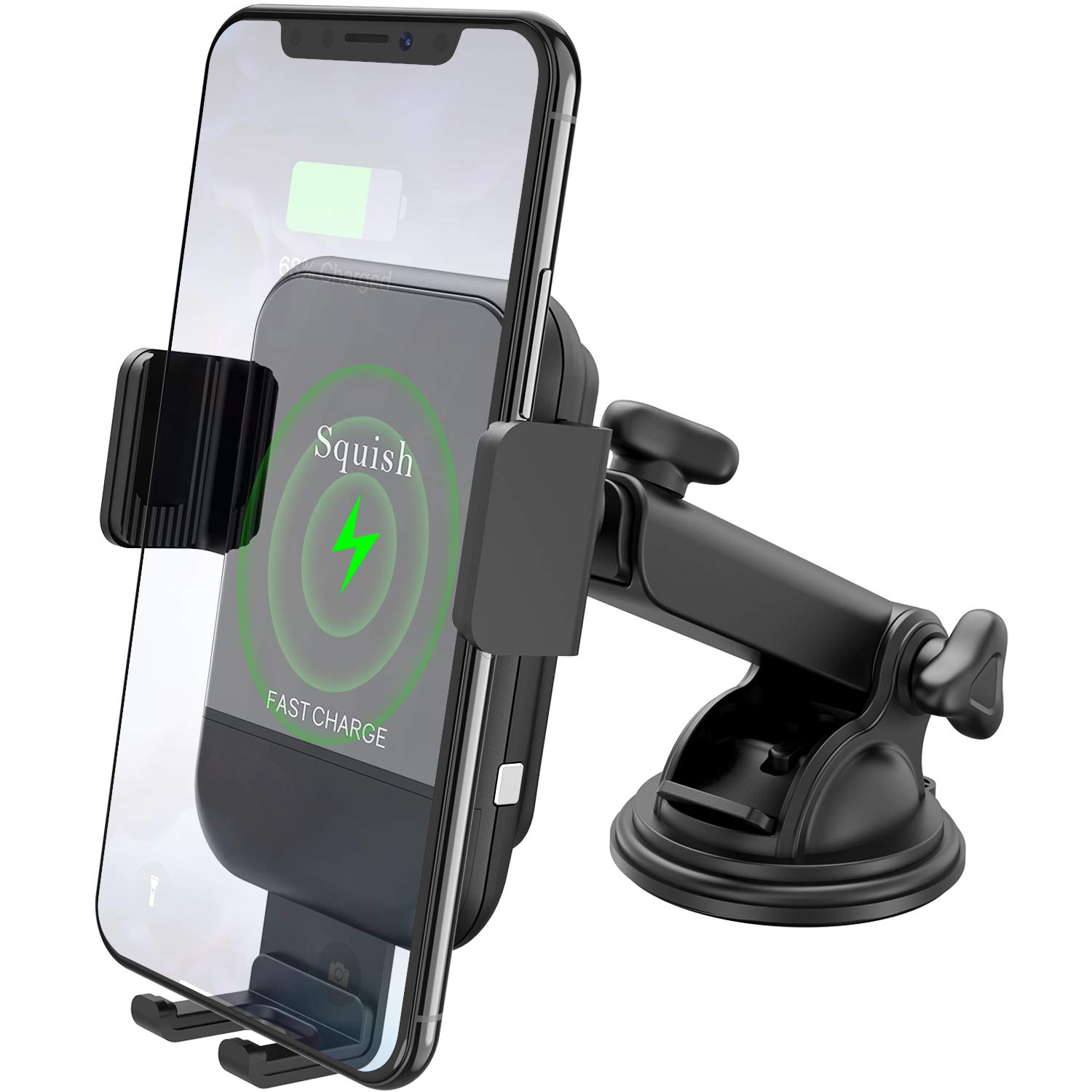 Squish Qi Wireless Charging Car Mount Air Vent Car Phone Mount Charger Phone Holder for iPhone Xs Max//XS//XR//X//8Plus//8 Samsung S9//S9+//S8//S8+//Note9//Note8 Wireless Car Charger