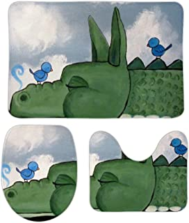 Yilooom Green Crocodile and Blue Little Bird Non Slip Bathroom Mat Sets 3 Piece Home Doormat Christmas Holiday Decor 20 X 32 Inch