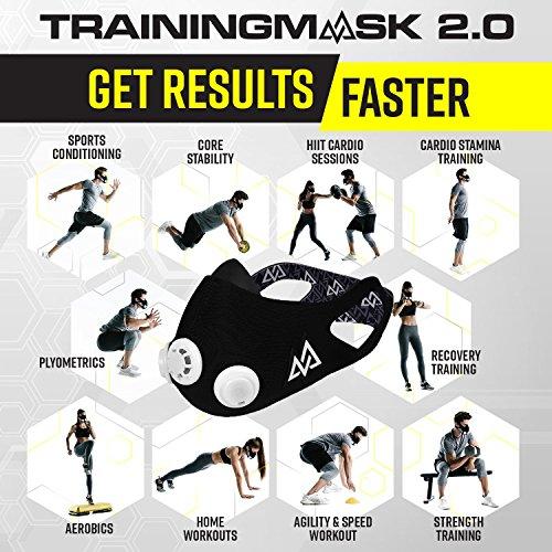 Elevation Training Mask Trainingshilfe Mas 2.0, schwarz, 70 – 110kg, 50-0151 - 3