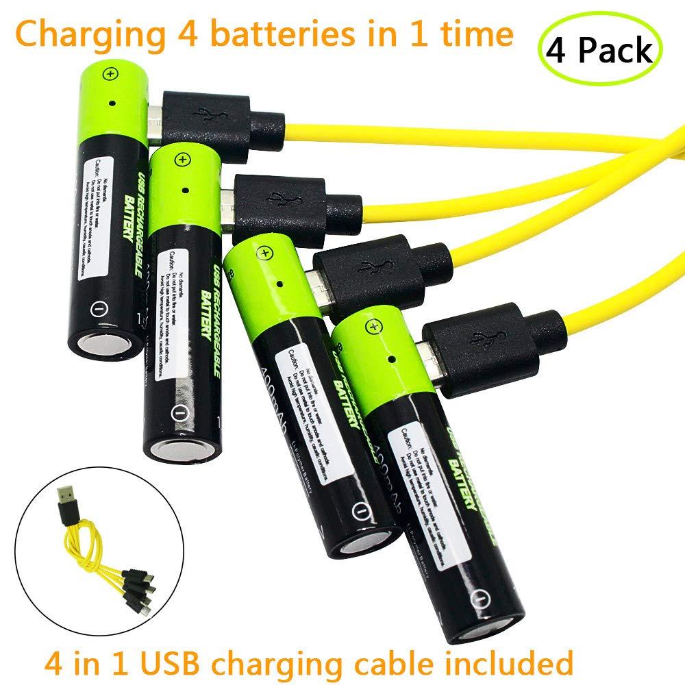 Batería Pilas AAA 4 Unidades USB Pilas de batería de polímero de Litio 400 mAh 4 Pack 4 en 1 Micro USB Cable Incluido: Amazon.es: Electrónica