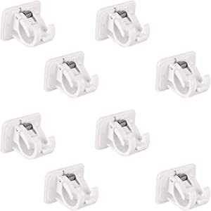 CHENLEI 8 Pcs Self Adhesive Curtain Rod Bracket Hook Holders No Drill Curtain Rod Brackets Wall Brackets Towel Rod Hooks for Home Bathroom Hanging Net Curtain Party Garden Decoration