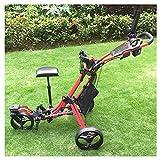 JLDN Chariot Golf 3 Roues, Chariot de Golf avec Le siège Porte-Parapluie Golf Cart Frein Au Pied Pliant Une Seconde pour L'Ouvrir Et Le Fermer,Red